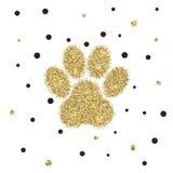 Vectro modern golden glitter animal paw Stock Images