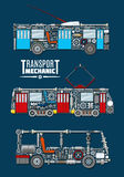 Vectro transport mechanics and mechanisms. Transport mechanics of passenger and urban vehicles with detailed mechanisms and parts of bus engine, trolleybus and Stock Image