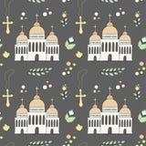 Vectron naadloos die patroon van elementen manueel in de stijl van krabbel worden getrokken Doopsel, zuigeling, godsdienst, kerk  stock illustratie