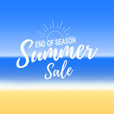 Vectror advertisement about the summer sale on defocused background with beautiful tropical sea beach view. Stock Image