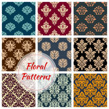 Vectror floral Damask seamless patterns set. Damask floral seamless vector patterns set of flower ornament tracery. Luxury flourish baroque flowery adornment of Stock Photography