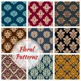 Vectror floral Damask seamless patterns set Stock Photography