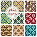 Vectror seamless floral Damask patterns set. Damask seamless pattern of floral ornament tracery. Vector flourish and baroque flowers adornment or luxury Royalty Free Stock Image