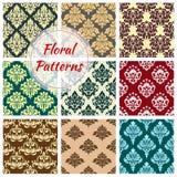 Vectror seamless floral Damask patterns set Royalty Free Stock Image