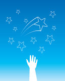 Vectror stars hands. A hand trying to reach stars in the night sky Royalty Free Stock Photography