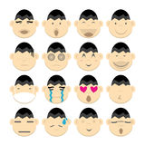 Vectros image set cartoon face emotion head Stock Photo