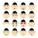 Vectros image set cartoon face emotion head Stock Photo