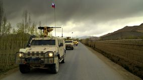 Veículos militares checos em Afeganistão Fotografia de Stock