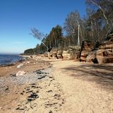 Veczemju cliffs based in northern part of Latvia and lies on the Baltic gulf. Beach, camping and tourist place royalty free stock photo