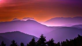 Veda attraverso il tramonto Fotografia Stock