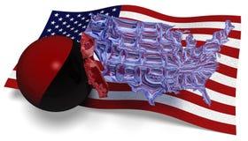 Veda attraverso la mappa dell'America contro una bandiera di U.S.A. Fotografia Stock