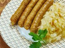 Vedarai de Bulviniai - salchicha lituana, diversos tipos de salchicha o intestino relleno con un relleno hecho de una combinación foto de archivo libre de regalías