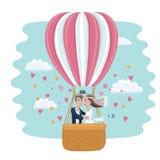 Vedding couple in hot air balloon vector illustration