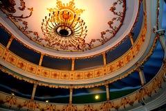 Vedendo il corridoio del teatro in Oravita, nella vecchia regione di Banat Immagini Stock