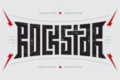 Vedette du rock - conception de T-shirt Rockstar - affiche de musique avec le lig rouge Images stock
