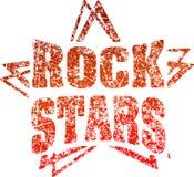 Vedettes du rock grunges de tampon en caoutchouc de style dans des tons rouges Photographie stock