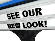 Vedi il nostro ristorante di New Look immagazzinare le lettere del segno della riprogettazione Fotografia Stock