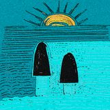 Vedi il tramonto dal mare Colori blu e gialli illustrazione di stock