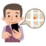 Vedi la mappa con gli uomini senior dello smartphone Fotografia Stock