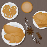 Vedic Indian cuisine, set of vegetarian healthy food top view. Vedic Indian cuisine, set of vegetarian healthy food, traditional meal of India top view Royalty Free Stock Photos