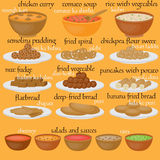 Vedic Indian cuisine, set of vegetarian healthy food Royalty Free Stock Photography