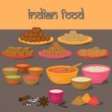 Vedic Indian cuisine, set of vegetarian healthy food Stock Photos