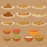 Vedic Indian cuisine, set of vegetarian healthy food Stock Image