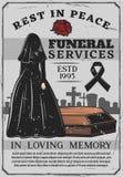 Vedova e bara, funerale, sepoltura illustrazione di stock
