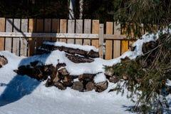 vedträ brädebakgrund Trä texturera Snö och trä royaltyfri foto