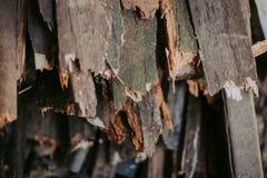 Vedträ för brand som staplas i en plan hög Väggvedträ royaltyfria foton
