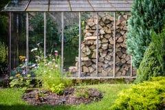 Vedträ i ett växthus royaltyfri bild