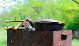 Vedträkruka på en fyrpannakock i naturpicknick royaltyfria foton