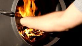 Vedträt bränner i en spis stock video