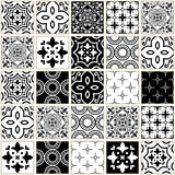 Veector navy blue tiles pattern, Azulejos - Portuguese seamless tile design, monochrome ceramics set Stock Photo