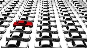 Veel Auto's, Één Rood! Stock Afbeelding