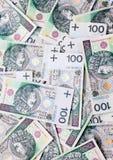 Veel bankbiljetten honderd zloty poetsmiddel Stock Fotografie