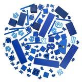 Veel blauw speelgoed royalty-vrije stock afbeeldingen
