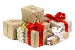 Veel de dozen van Kerstmisgiften Stock Foto