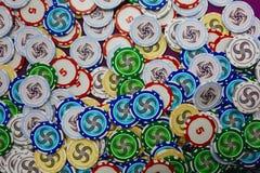 Veel de kleurrijke hoogste mening van casino speelspaanders stock afbeelding