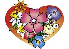 Veel de lentebloemen en hea Stock Afbeelding