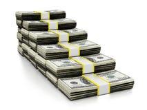 Veel die dollars een trap vormen 3D Illustratie Royalty-vrije Stock Foto's
