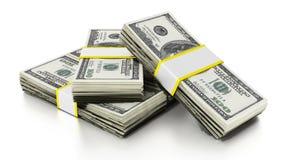Veel die dollars een trap vormen 3D Illustratie Stock Afbeeldingen