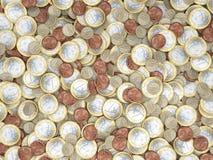 Veel euro muntstukken in detail Stock Afbeelding