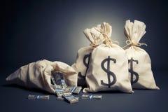 Het hoogtepunt van zakken van geld op een donkere achtergrond Stock Afbeeldingen
