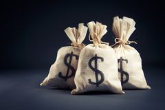 Het hoogtepunt van zakken van geld op een donkere achtergrond Royalty-vrije Stock Foto