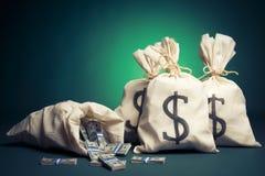 Het hoogtepunt van zakken van geld op een groene achtergrond Royalty-vrije Stock Foto's