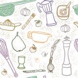 Veel het naadloze patroon van het keukenmateriaal stock illustratie