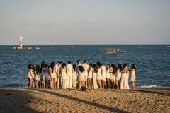 Veel jongeren op het Strand, Maceio, Alagoas, Brazilië stock foto
