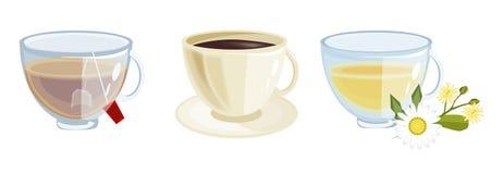 Veel koffie in verschillende koppenvector vector illustratie
