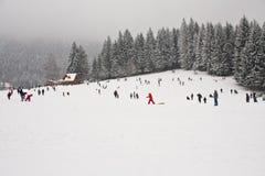 Veel mensen die pret in sneeuw hebben stock afbeelding